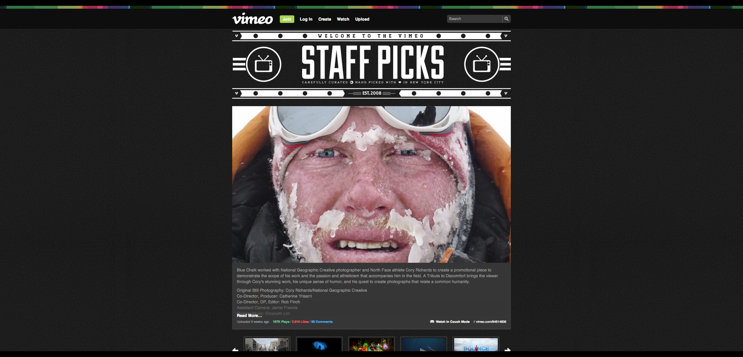 A Tribute to Discomfort  Cory Richards in Vimeo Staff Picks on Vimeo (2)