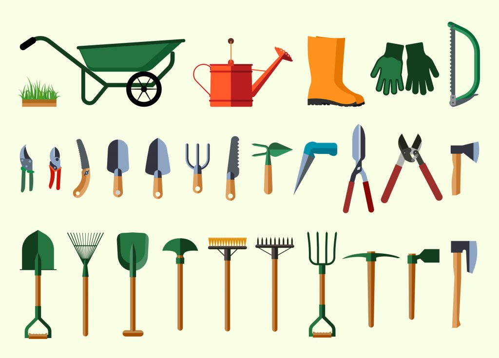 39637606 - garden tools. flat design illustration of items for gardening. vector illustration.