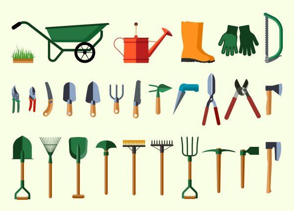 39637606 - garden tools. flat design illustration of items for gardening. vector illustration.