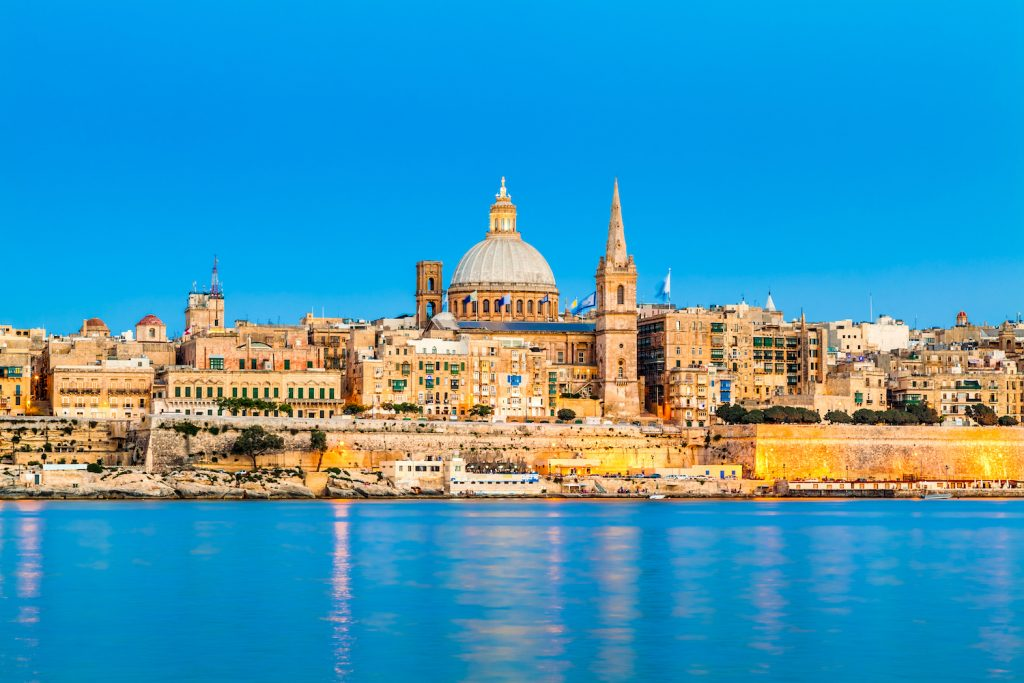 Valletta Skyline in the Evening, Malta; Shutterstock ID 125319017