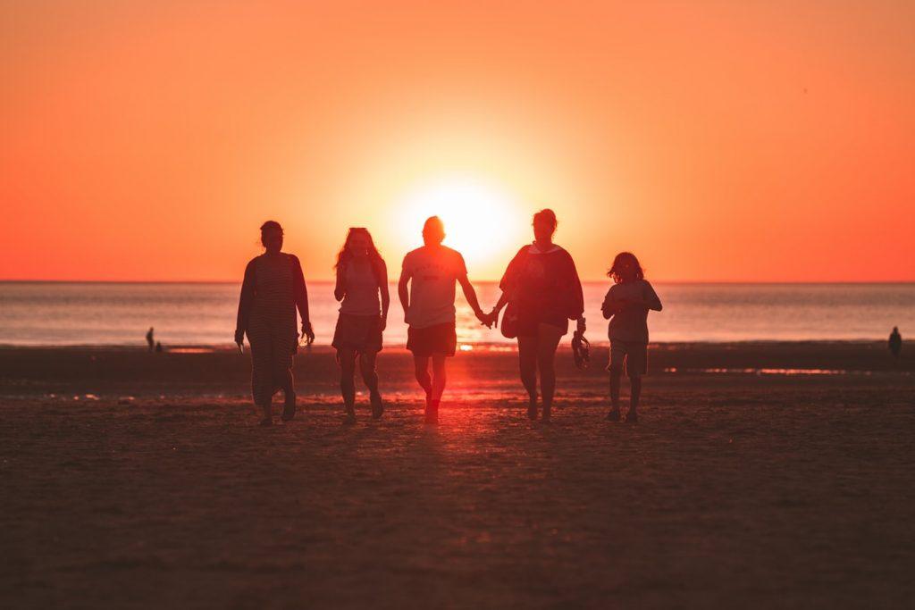 familie-zonsondergang