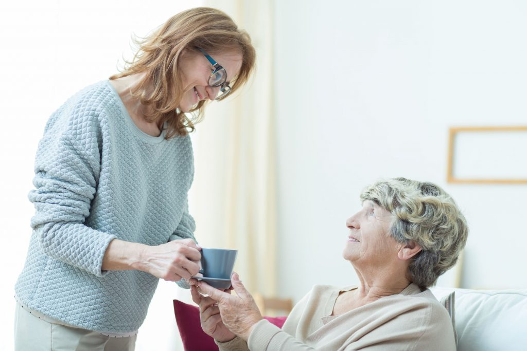 51172074 - smiling senior care assistant helping elderly lady