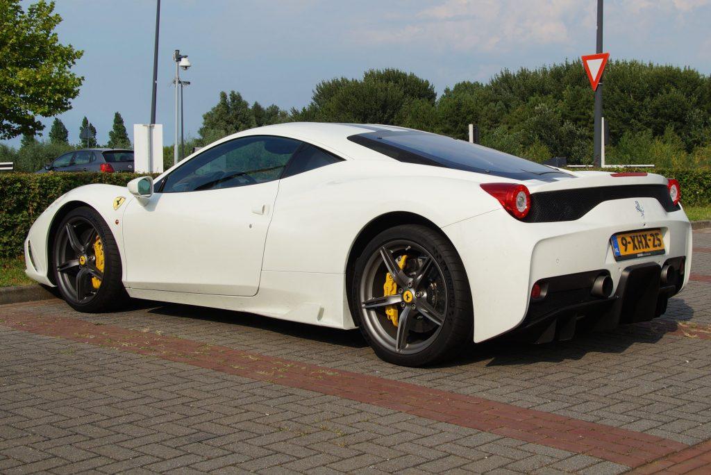 61756007 - white ferrari 458 italia - side back view