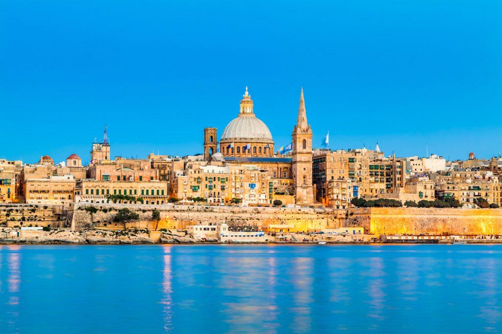 Valletta Skyline in the Evening, Malta; Shutterstock ID 125319017